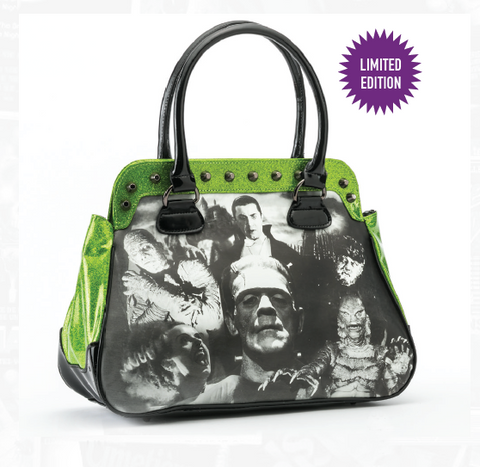Universal Monsters Collage Handbag Green Glitter