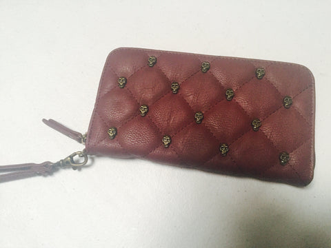 GG Rose Quilted Skulls Wallet Marsala burgundy goth punk glam chic alternative pinup hot topic sourpuss