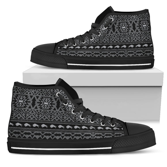 Men's Native Pattern Gray High Top Shoes - kili-creations