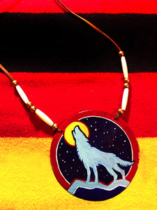 Wolf Moon Hand-Painted Medallion