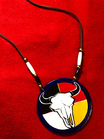 4-Directions Buffalo Skull Hand-Painted Medallion