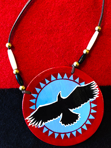 Eagle and Sun Hand-Painted Medallion