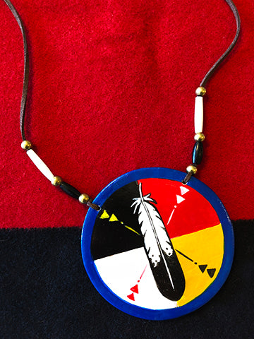 Eagle Feather Hand-Painted Medallion