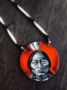 Sitting Bull Hand Painted Medallion