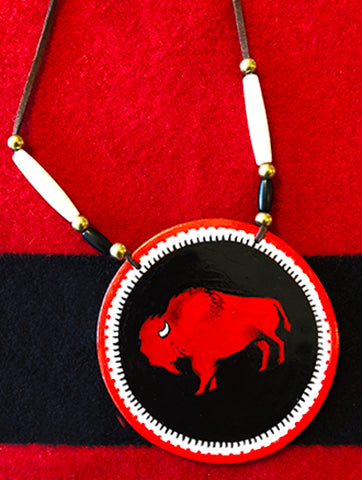Red Buffalo Skull Hand-Painted Medallion