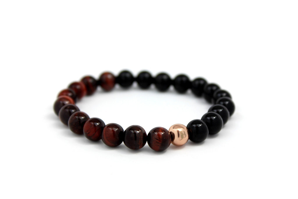Rose Gold with Red Tiger Eye | Black Onyx - J.Beverly  - 1