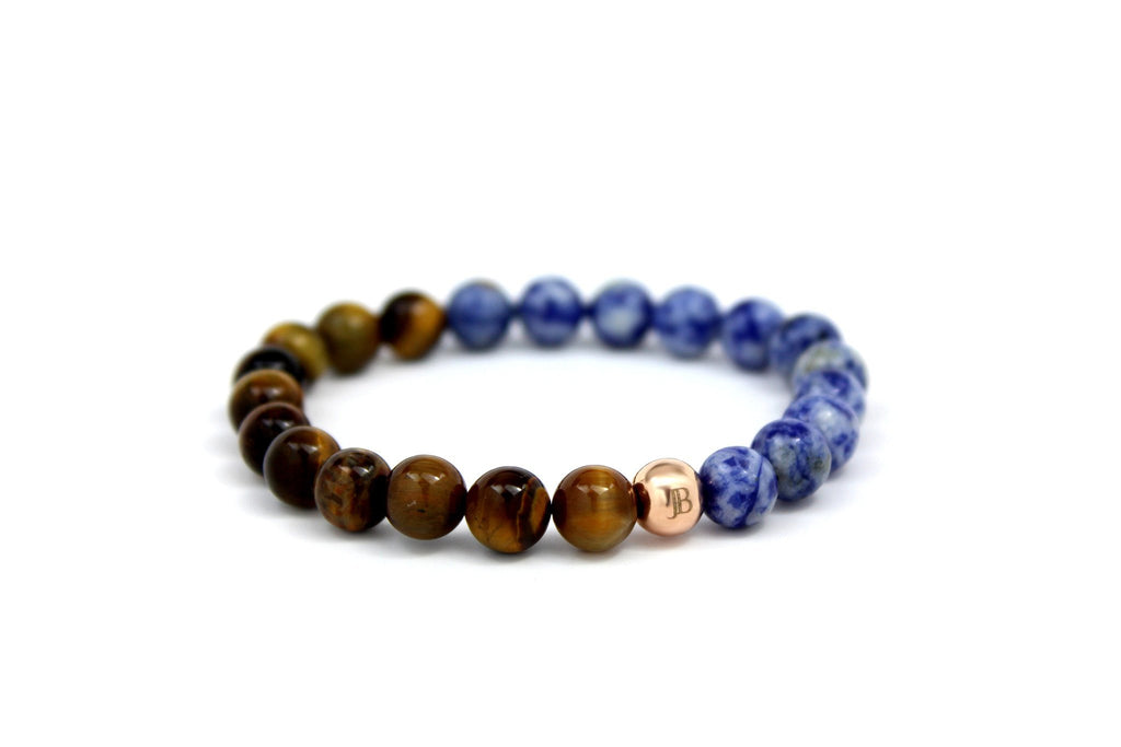 Rose Gold with Blue Coral | Tiger Eye - J.Beverly  - 1