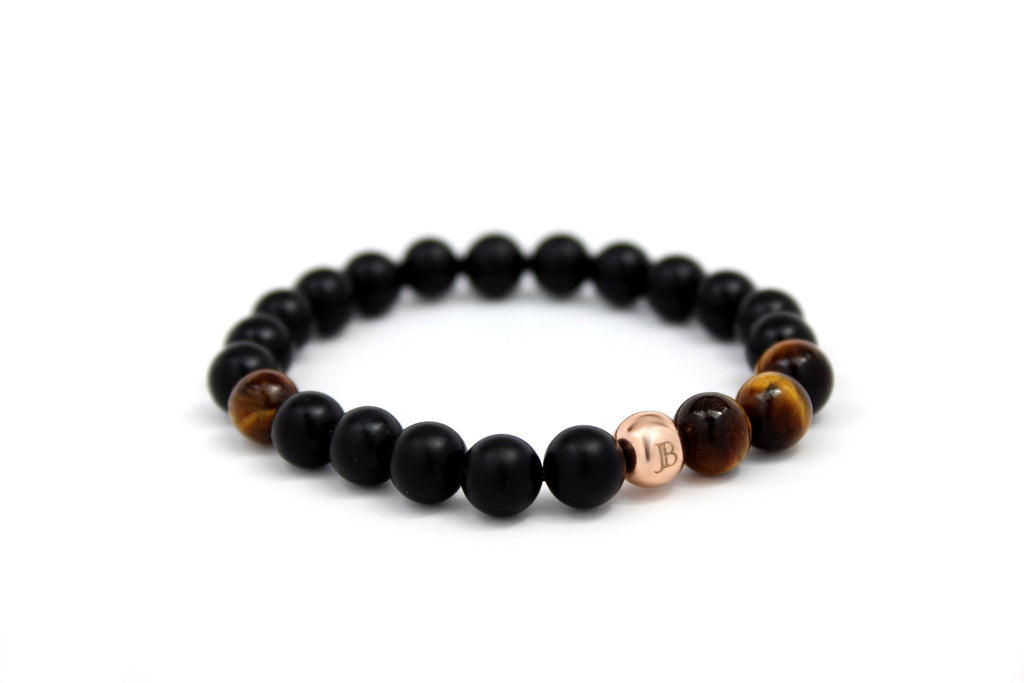Rose Gold with Matte Black Onyx | Tiger Eye - J.Beverly  - 1