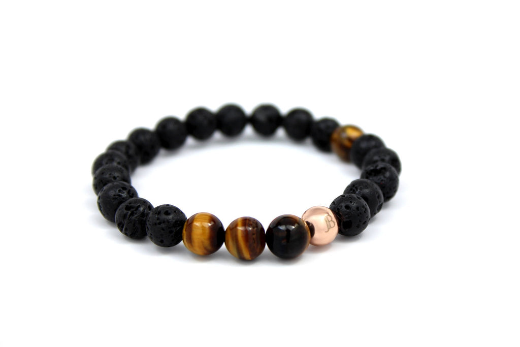 Rose Gold with Black Lava | Tiger Eye - J.Beverly  - 1
