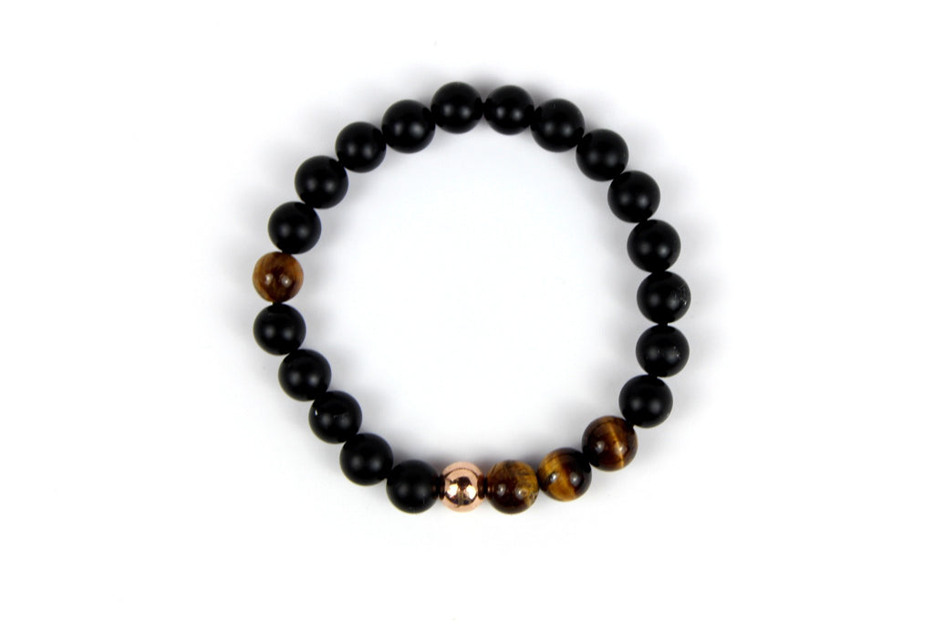 Rose Gold with Matte Black Onyx | Tiger Eye - J.Beverly  - 2