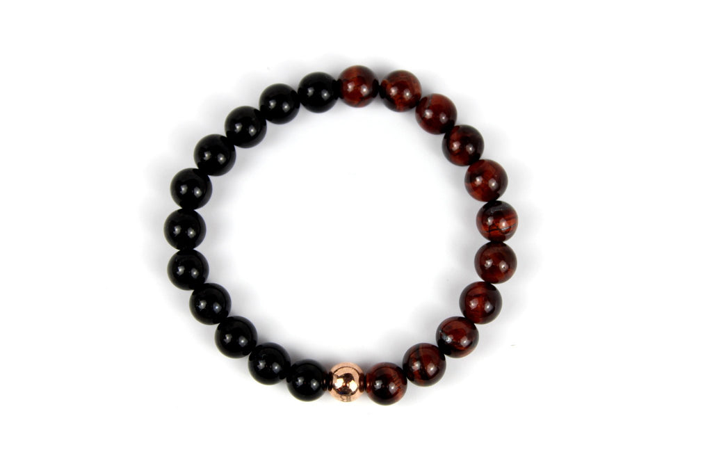 Rose Gold with Red Tiger Eye | Black Onyx - J.Beverly  - 2