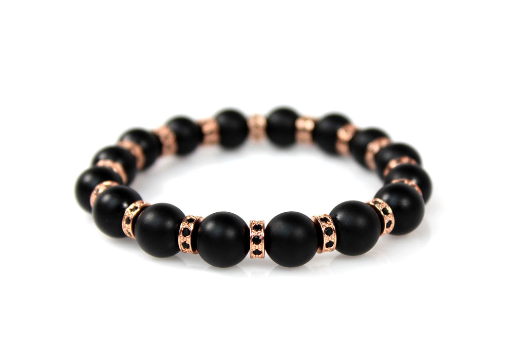 Matte Black Onyx / 18k Rose Gold Loops & Black Crystals - J.Beverly  - 1