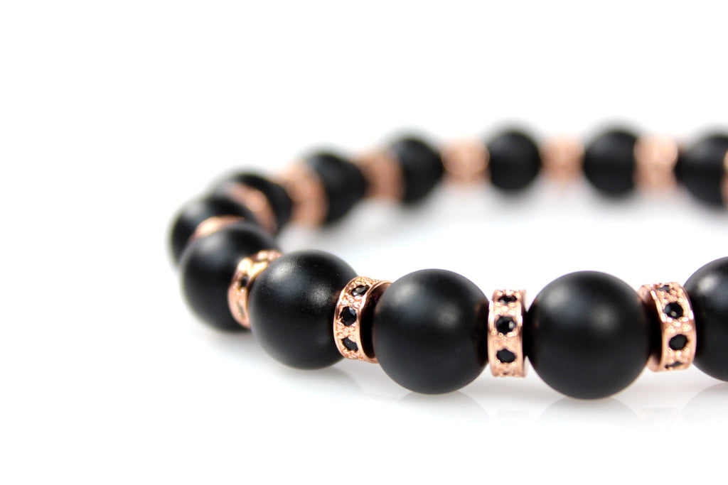 Matte Black Onyx / 18k Rose Gold Loops & Black Crystals - J.Beverly  - 2