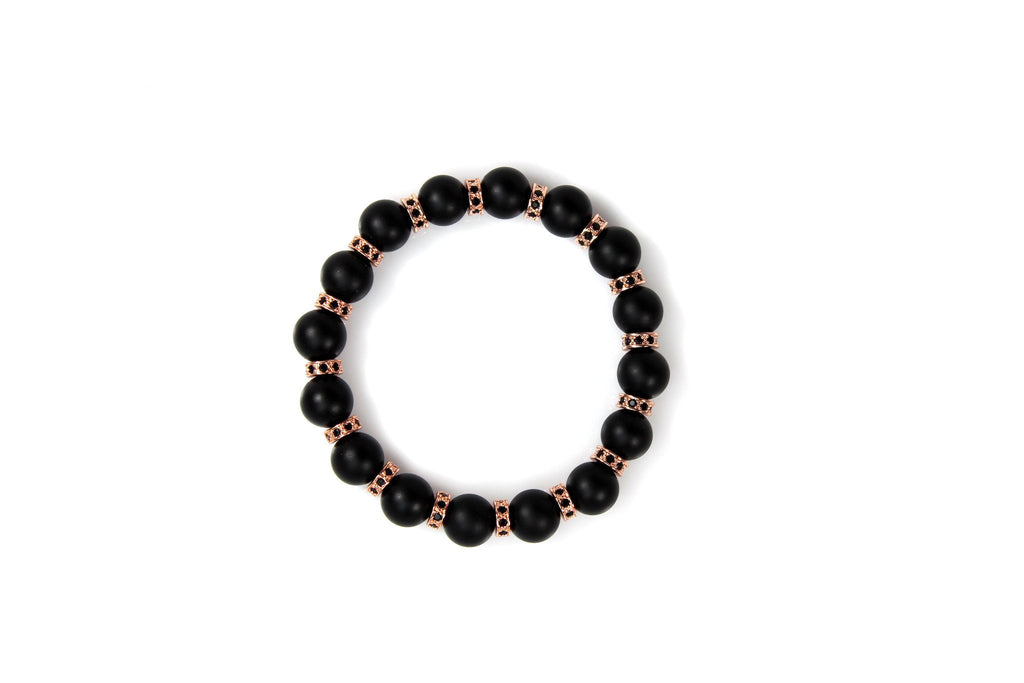 Matte Black Onyx / 18k Rose Gold Loops & Black Crystals - J.Beverly  - 3