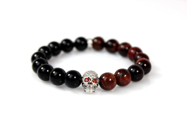 Black Onyx & Red Tiger Eye / Silver & Clear Crystal Skull - J.Beverly  - 1