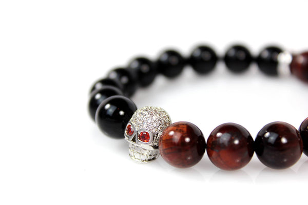 Black Onyx & Red Tiger Eye / Silver & Clear Crystal Skull - J.Beverly  - 3