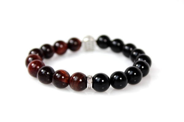 Black Onyx & Red Tiger Eye / Silver & Clear Crystal Skull - J.Beverly  - 2