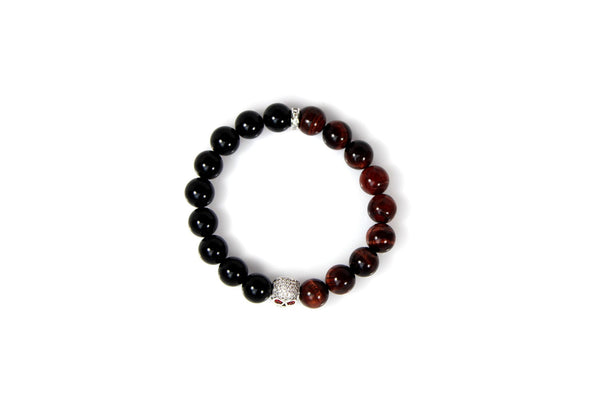 Black Onyx & Red Tiger Eye / Silver & Clear Crystal Skull - J.Beverly  - 4