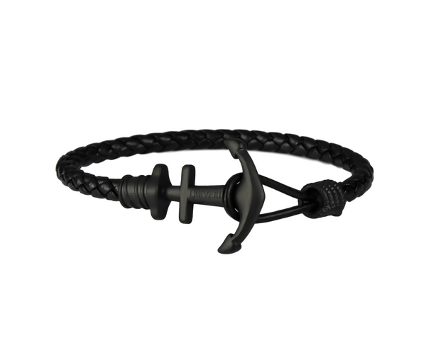 Anchor on Black Leather | Matte Black