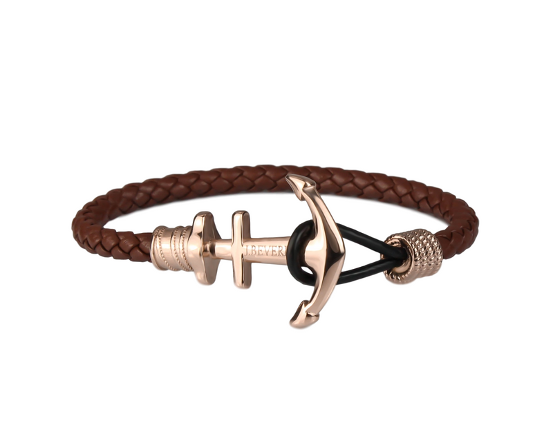 Anchor on Brown Leather | Rose Gold