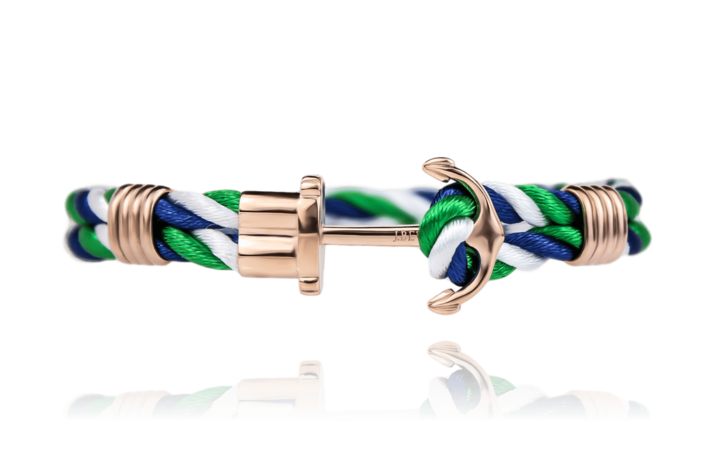 Anchor on Navy/Green/White Rope | Rose Gold