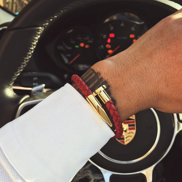 Brown Leather Nail Cuff | Gold
