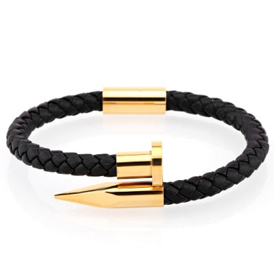 Black Leather Nail Cuff | Gold