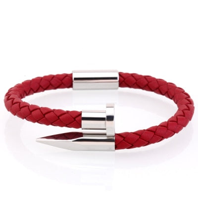 Red Leather Nail Cuff | Silver