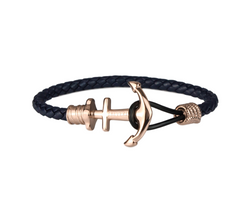 Anchor on Navy Leather | Rose Gold