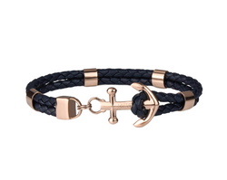 Modern Anchor on Navy Leather | Rose Gold
