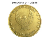 Sunbed meter tokens L1,  eurocoin or freedom Eagle token bag of 25 - supremesunbeds  - 2