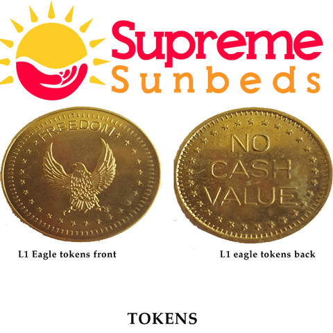 Sunbed meter tokens L1,  eurocoin or freedom Eagle token bag of 25 - supremesunbeds  - 1