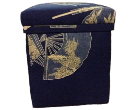 Japanese Upholstered Tea box 1970's (large) - Indigo Blue linen and Cream fan design