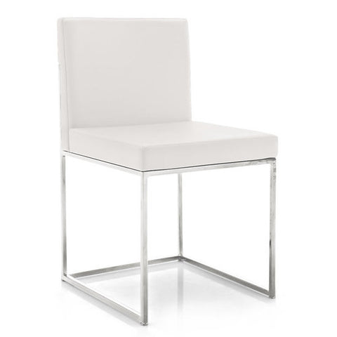 Even Plus Leather Chair, White/Chrome