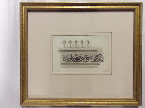 J. Livock - 1800's Original Architectural Pencil and Watercolor Rendering of Frieze Detail, King's College, Scotland (2)