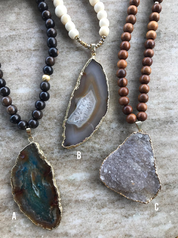 Agate and Druzy Necklaces