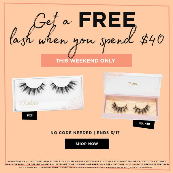 Get a free lash when you spend $40 lotus lashes mink lashes sale promo