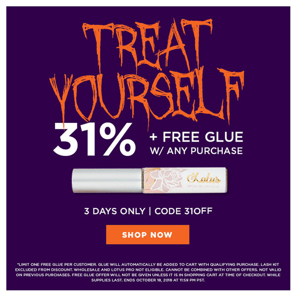 halloween sale 31% off + free glue free gift lotus lashes mink lashes promo