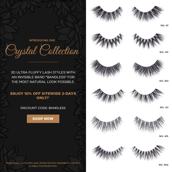 Lotus Lashes clear invisible band bandless crystal collection