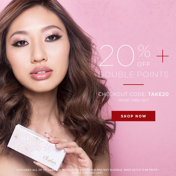 lotus lashes holiday 2017 sale december promo code discount code double rewards points