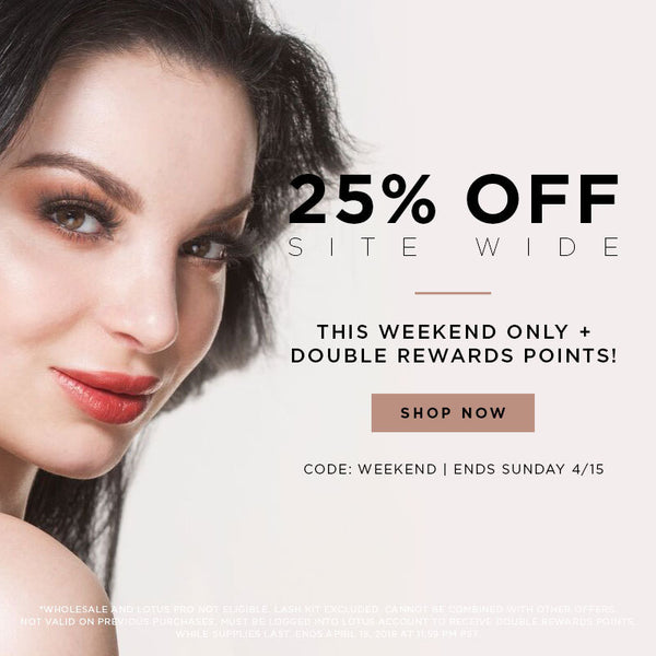 weekend sale 25% off + double rewards points lotus lashes mink lashes