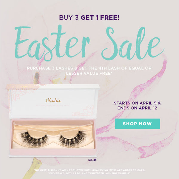 Easter sale 2017 buy 3 lashes get 1 free lotus lashes promo BOGO