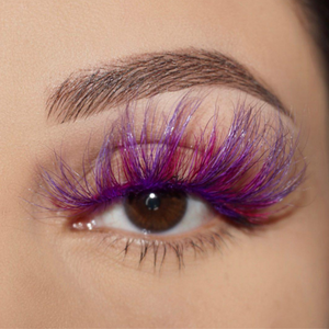 afterglow colored mink lashes stardust hot pink purple false eyelashes lotus lashes swatch