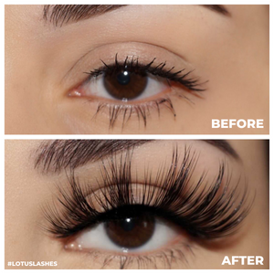 bombshell spellbound 25mm faux mink lashes false eyelashes lotus lashes before and after