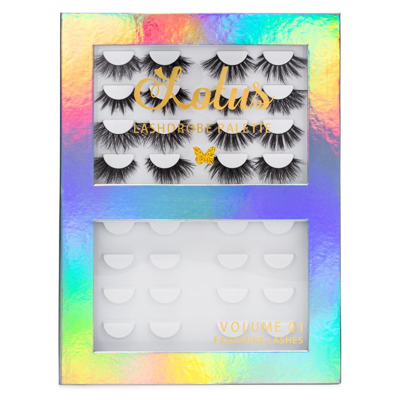 lotus lashes lashdrobe palette vol 01 faux mink lashes false eyelashes lash book