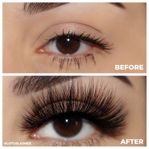 lady lux bombshell 25mm faux mink lashes false eyelashes lotus lashes before and after