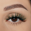 afterglow colored mink lashes rich bish green light brown false eyelashes lotus lashes swatch