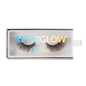 afterglow colored mink lashes glitch light brown lotus lashes in packaging