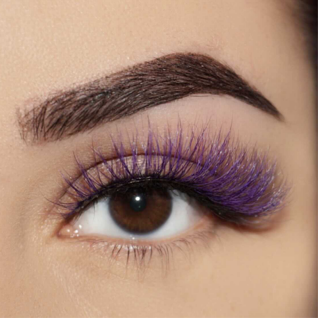 amethyst colored mink lashes afterglow purple lavender mink lashes false eyelashes lotus lashes swatch