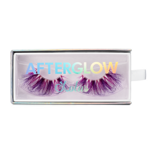 afterglow colored mink lashes stardust hot pink purple false eyelashes lotus lashes in packaging